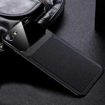 Shot Case Coque cuir IPHONE 8 Plexiglass NOIR