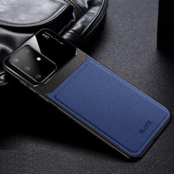 Shot Case Coque cuir SAMSUNG S20+Plexiglass BLEU