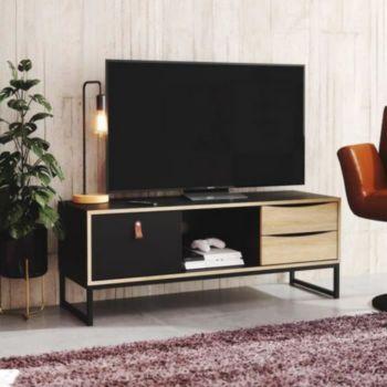 . STUBBE Meuble TV 3 tiroirs - BOIS & NOIR
