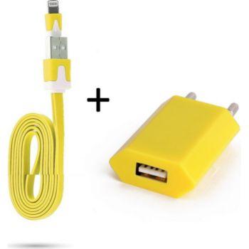 Shot Case Noodle Cable IPHONE + Prise JAUNE