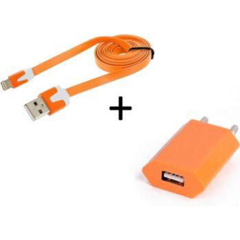 Shot Case Noodle Cable IPHONE + Prise ORANGE