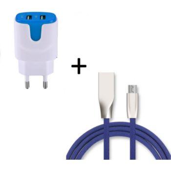 Shot Case Fast Cable Micro USB + Prises BLEU