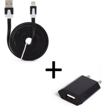 Shot Case Cable IPHONE Noodle 3m + Prise NOIR
