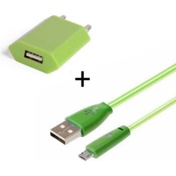 Shot Case Cable IPHONE Smiley LED + Prise VERT