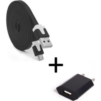 Shot Case Cable Micro USB Noodle 3m + Prise NOIR