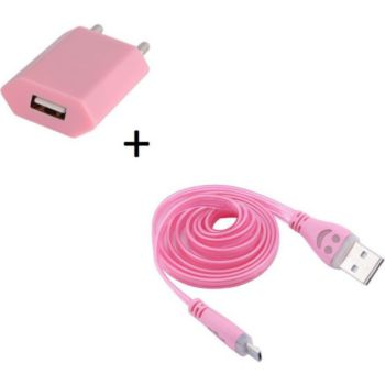 Shot Case Cable Micro USB Smiley + Prise ROSE P