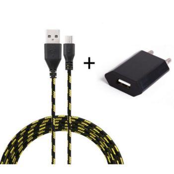 Shot Case Cable Micro USB Tresse 3m + Prise NOIR