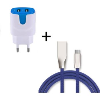 Shot Case Cable Type C Fast Charge + Prises BLEU