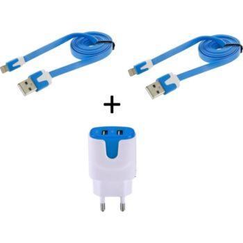 Shot Case 2 Cables IPHONE Noodle + Prises BLEU