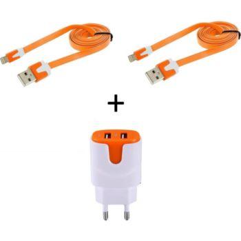 Shot Case 2 Cables IPHONE Noodle + Prises ORANGE