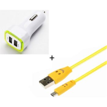 Shot Case IPHONE Cable Smiley + Prise JAUNE
