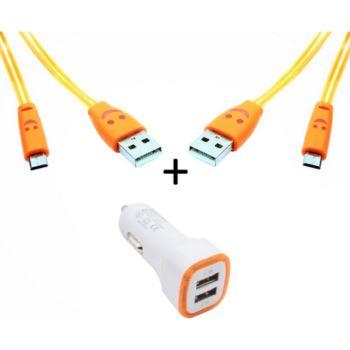 Shot Case Micro USB 2 Cables Smiley + Prise ORANGE