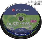 CD vierge Verbatim CD-RW 700MB 10PK Spindle  8-12x