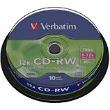 CD vierge Verbatim CD-RW 700MB 10PK Spindle  8-12x