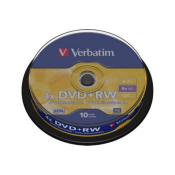 Verbatim DVD+RW 4.7GB 10PK P10 Spindle 4x