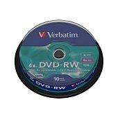 DVD vierge Verbatim DVD-RW 4.7GB 10PK Spindle 4x