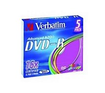 DVD vierge Verbatim DVD-R Azo 4,7GB 5PK P5 Colour Slim 16x