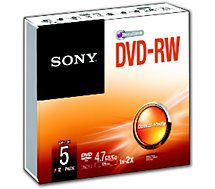 DVD vierge Sony  DVD-RW Slim case 4.7GB X5