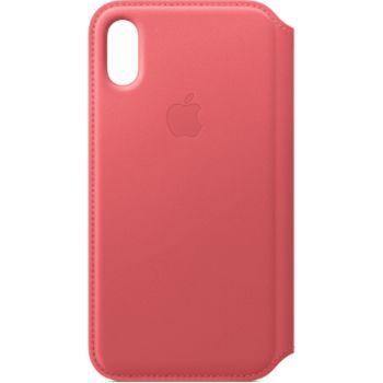 coque iphone xs en cuir rose pivoine