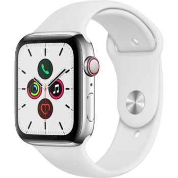 Apple Watch 44MM Acier/Blanc Series 5 Cellular