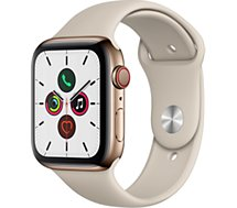 Montre connectée Apple Watch  44MM Acier Or/Gris Sable Series 5 Cellul