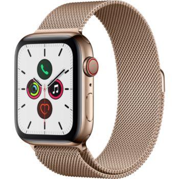 Apple Watch 44MM Acier Or/Boucle Or Mil Series 5 Cel