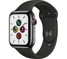 Montre connectée Apple Watch  44MM Acier Noir/Noir Series 5 Cellular