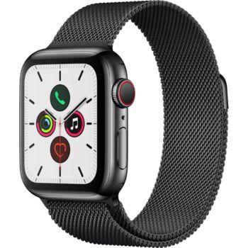 Apple Watch 44MM Acier Noir/Boucle Mil Series 5 Cell
