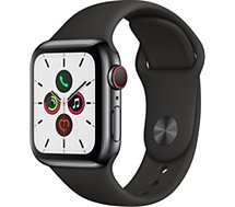 Montre connectée Apple Watch  40MM Acier Noir/Noir Series 5 Cellular