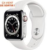 Montre connectée Apple Watch 40MM Acier Argent/Blanc Series 6 Cellula