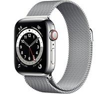 Montre connectée Apple Watch  44MM Acier/Boucle Arg Mil Series 6 Cel