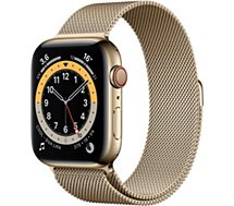 Montre connectée Apple Watch  44MM Acier Or/Boucle Or Mil Series 6 Cel