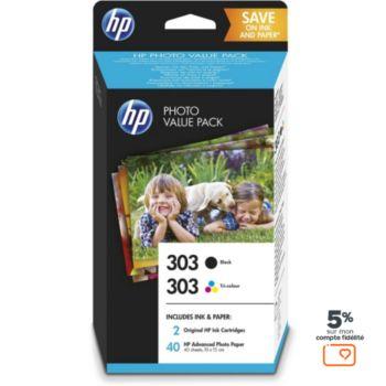 HP N°303 (1cart Noir+1 Coul)+40f pap 10x15