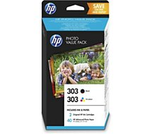 Cartouche d'encre HP  N°303 (1cart Noir+1 Coul)+40f pap 10x15