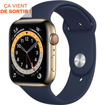 Apple Watch 44MM Acier Or/Bleu Series 6 Cellular