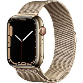Apple Watch 45MM Acier Or/Boucl or Mil Series 7 Cell