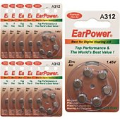 Pile Earpower Piles Auditives EarPower A312, 10 Plaque