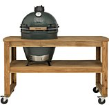 Chariot barbecue Big Green Egg  acacia L 4 roues pour barbecue