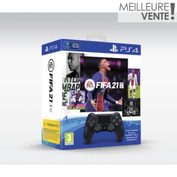 Sony Dual Shock 4 Noire V2+FIFA 21+Vch FU