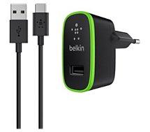 Chargeur secteur Belkin USB 2.1A + Câble USBC 1M20 - noir