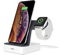 Station de chargement Belkin station pour Apple Watch et iPhone Blanc