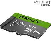 Carte Micro SD PNY microSDXC Elite 512Go + Adaptateur SD