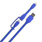 Câble duo Tylt 1M Lightning/Micro USB bleu