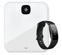 Pèse personne connecté Fitbit  ARIA AIR blanche+Montre INSPIRE HR noir