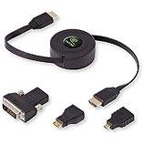 Câble HDMI Retrak  1M50 Rétractable Multi adaptateurs
