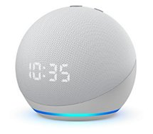 Assistant vocal Amazon  Echo Dot 4 avec Horloge Blanc