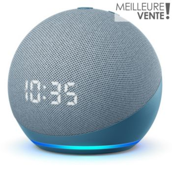 Amazon Echo Dot 4 avec Horloge Bleu gris