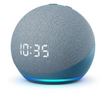 Assistant vocal Amazon  Echo Dot 4 avec Horloge Bleu gris