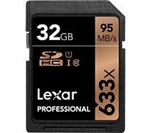 Carte SD Lexar  Carte SDHC 32 Go 633X Professional 95 Mo