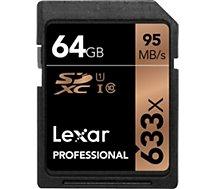 Carte SD Lexar  Carte SDXC 64 Go 633X Professional 95 Mo